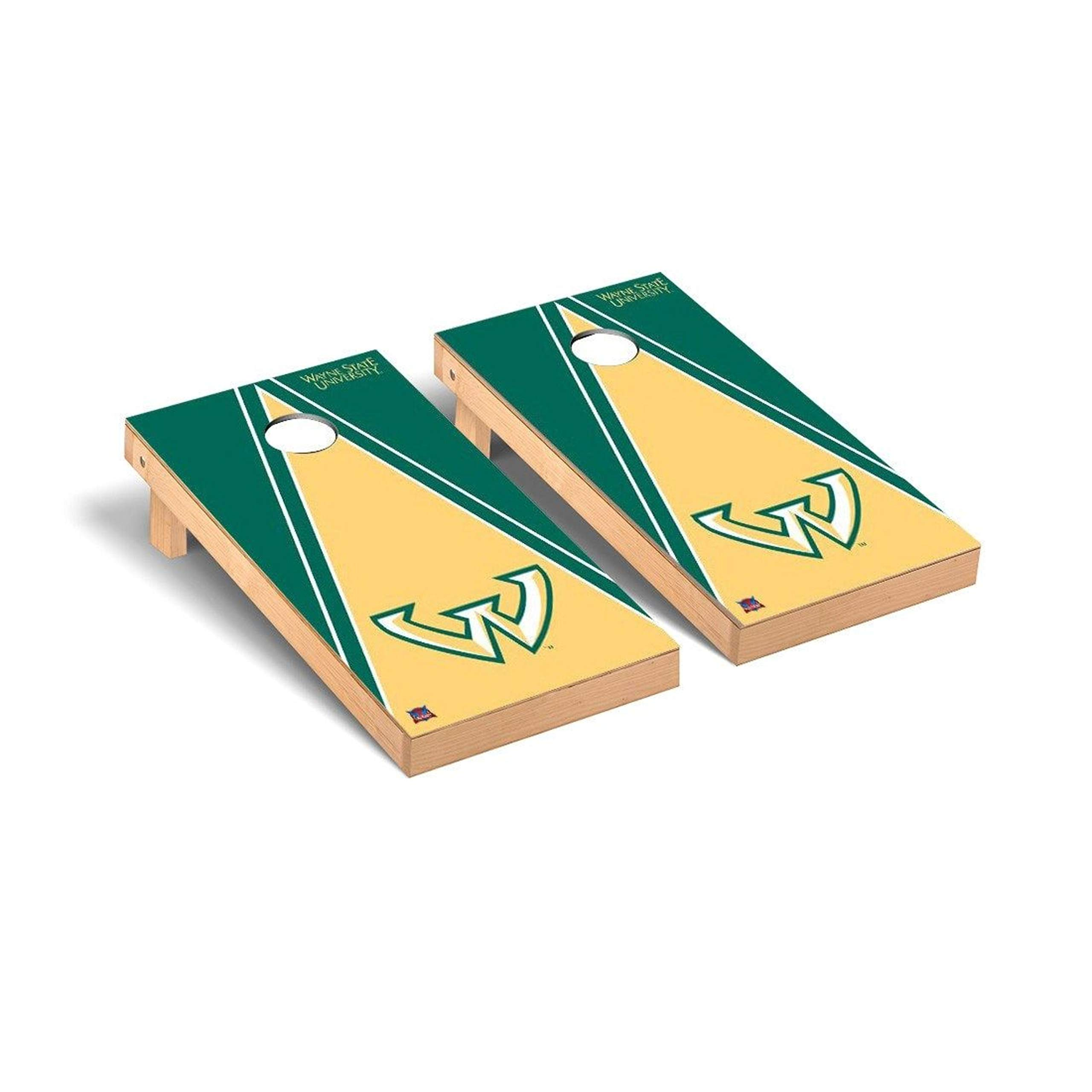 Victory Tailgate Regulation Collegiate NCAA Triangle Series Cornhole Board Set - 2 Boards, 8 Bags - Wayne State Warriors by Victory Tailgate