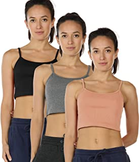18c1bc5c1e1 icyzone Undershirts Tank Tops for Women - Spaghetti Strap Cotton Crop Top  Cami(Pack of