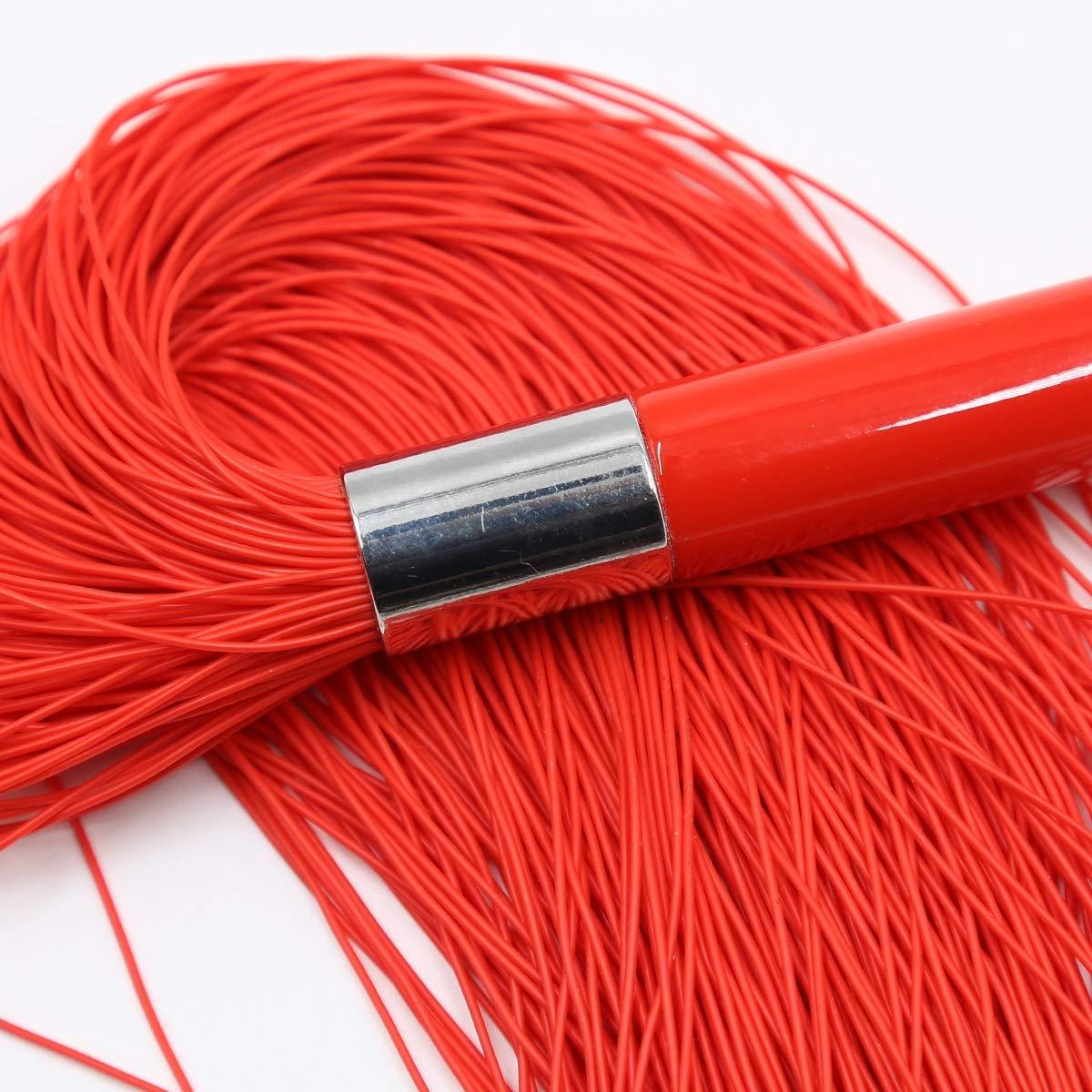 Azotaina látigo-erótica mano slapper acrílico paddle acrílico slapper mango de alambre de silicona látigo, acrílico mango silicona alambre flogger, pareja BDSM estimulante sexo látigo de cuero,Red d696ef
