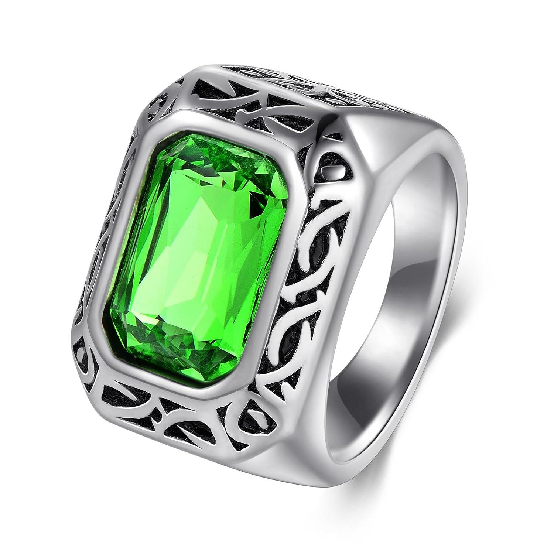5678be93dc51 Dalaran anillos de acero inoxidable para mujer hombres verde esmeralda  color piedra cuadrada