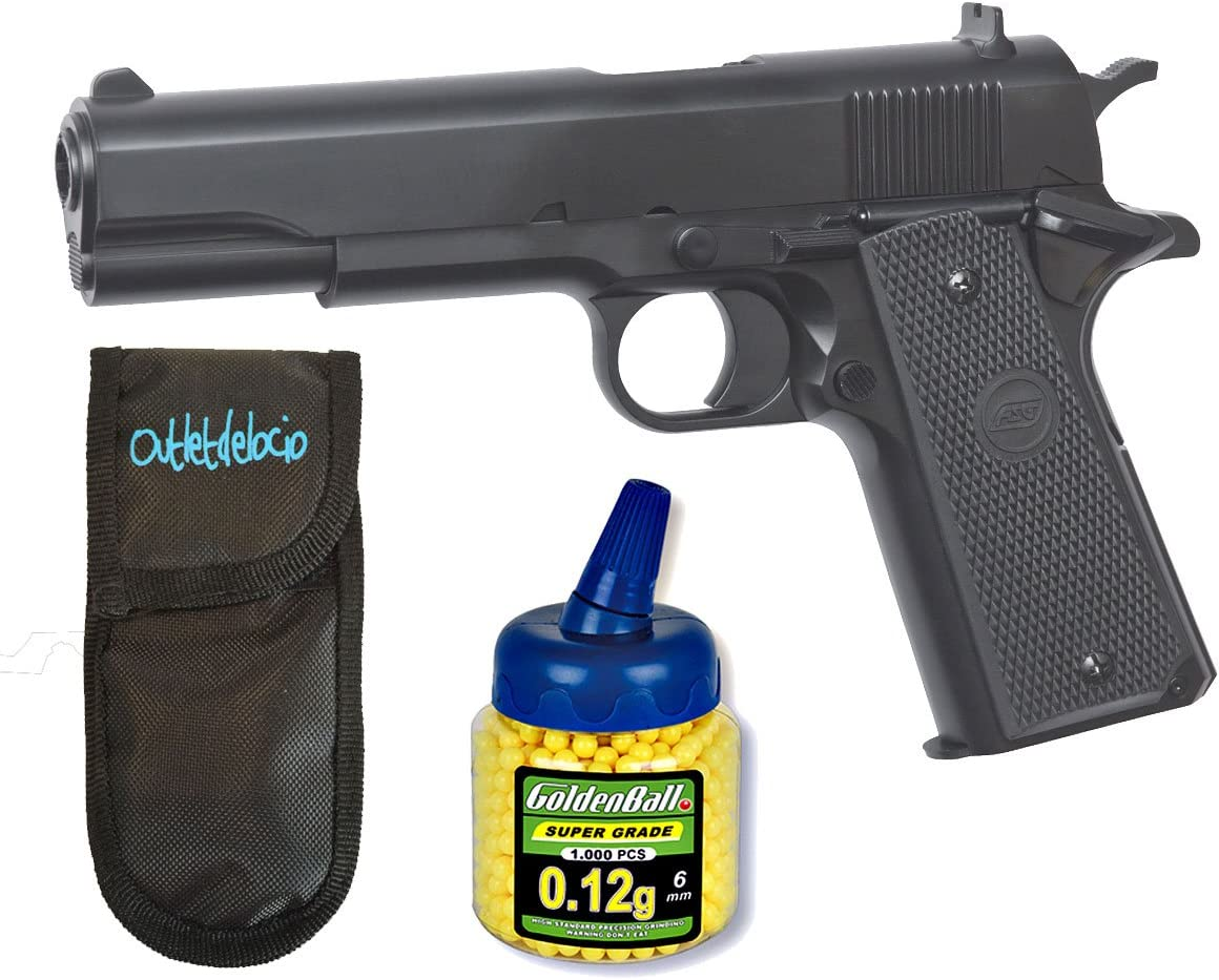 Pack Pistola airsoft STI 1911 Classic negra. Calibre 6mm. + Funda portabalines + Biberon 1000 bolas. 23054/21993