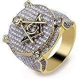 TOPGRILLZ Anillo masónico Hip Hop chapado en oro de 14 quilates con diamantes de imitación, sin AG, para hombre
