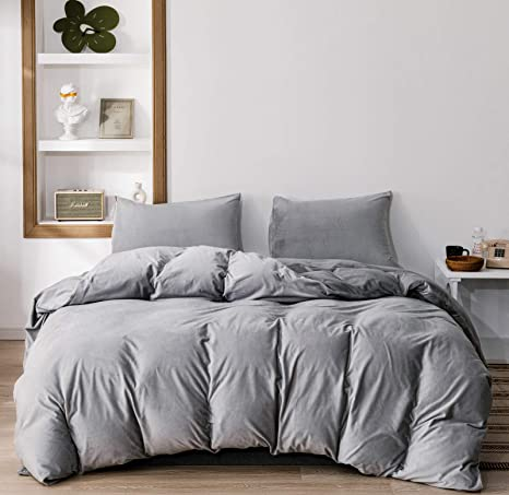 NTBAY Velvet Kids Duvet Cover Set Smoke Grey Twin Size 3 Pieces Zippered Flannel Comforter Cover Set