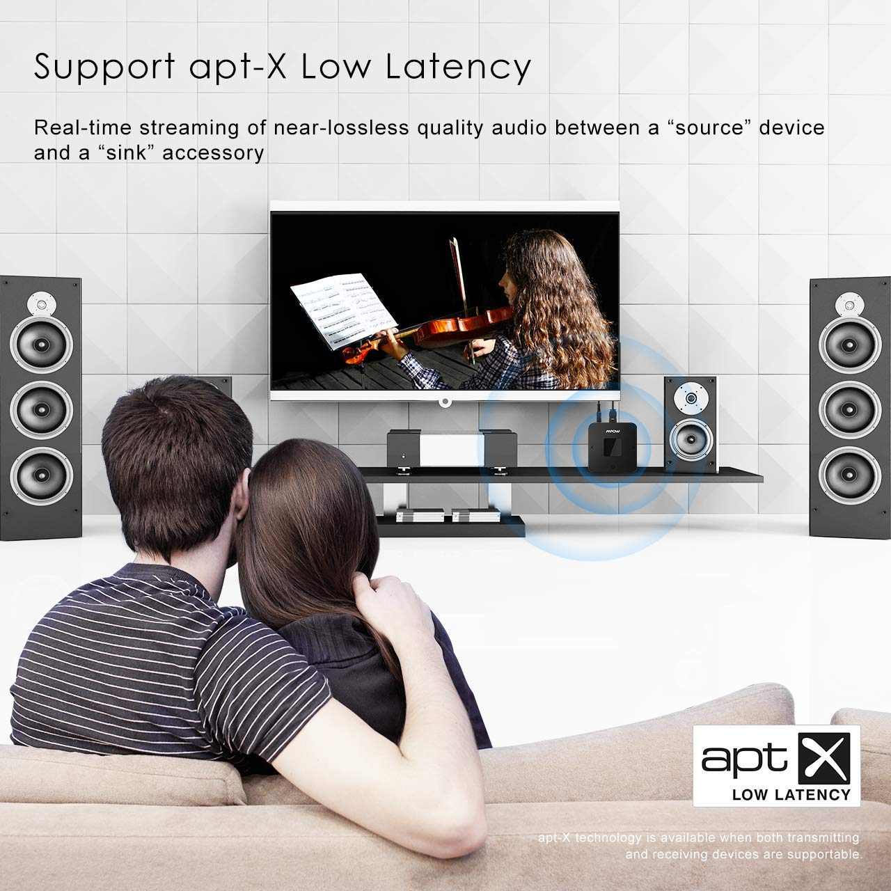 Mpow 20 Hrs Optical Digital TOSLINK Wireless Bluetooth Audio Adapter Dual-Link for TV//Home//Car Stereo Systems aptX Low Latency, 3.5mm AUX, RCA, PC USB Bluetooth Transmitter and Receiver Sound Box
