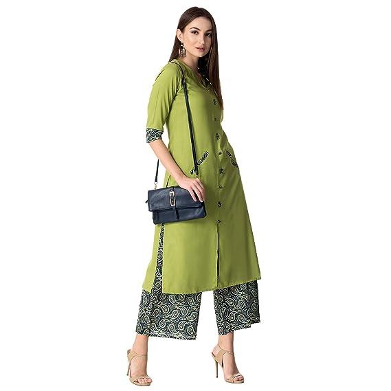 Khushal Women's Rayon Salwar Suit Set (Green) Women's Salwar Suits at amazon