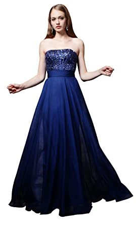 Josmile Womens Strapless Ruched Waist Chiffon Prom Dresses Long 2017 with Sequin Beaded Bodice Maxi Navy