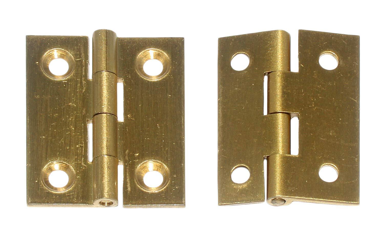 2 St/ück 38 x 32 mm mit Schrauben 89220 Hettich schmale Scharniere massiv Messing matt