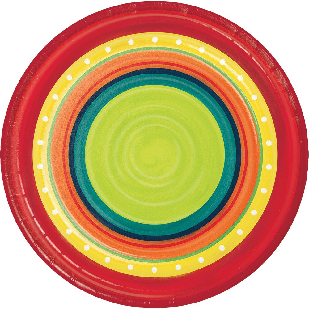 Summer Stoneware Fiesta Party Supply Bundle with Paper Plates and Napkins for 8 Guests by Creative Converting (Image #3)
