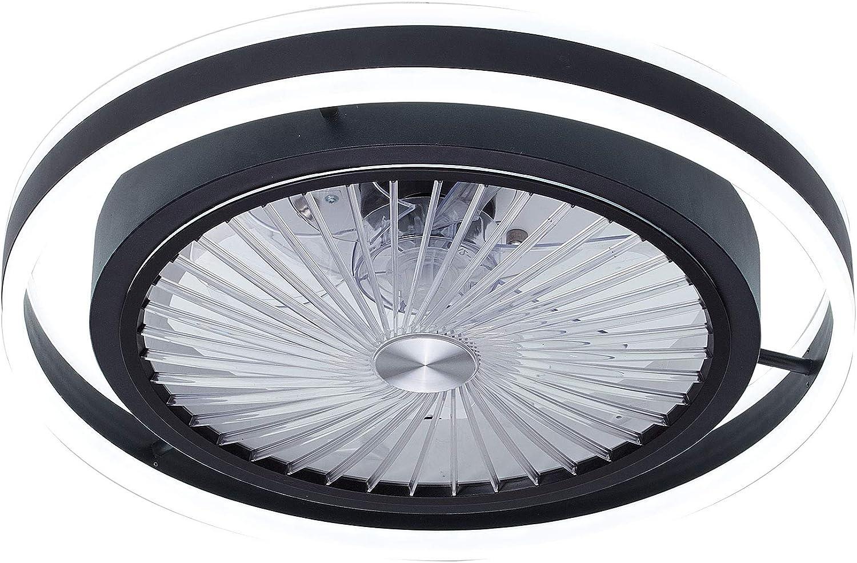 TODOLAMPARA-Lámpara ventilador de techo con luz led 56W Pampero Negro con mando a distancia,regulable en intensidad,3 tonalidades,memoria,silencioso,7 aspas protegidas,3 velocidades,50cm de diámetro