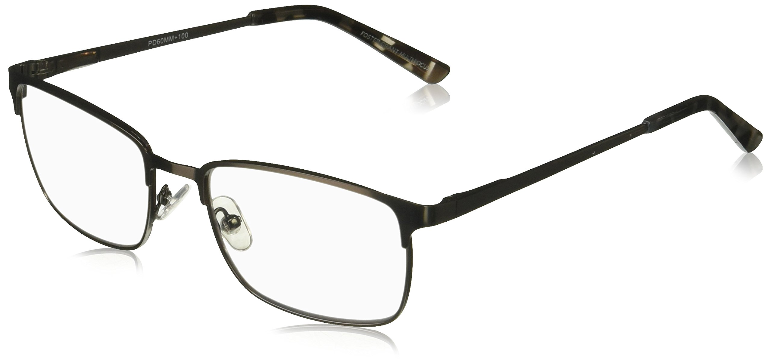 Foster Grant Men's Braydon Multifocus Glasses 1018252-150.COM Rectangular Reading Glasses, Gunmetal, 1.5