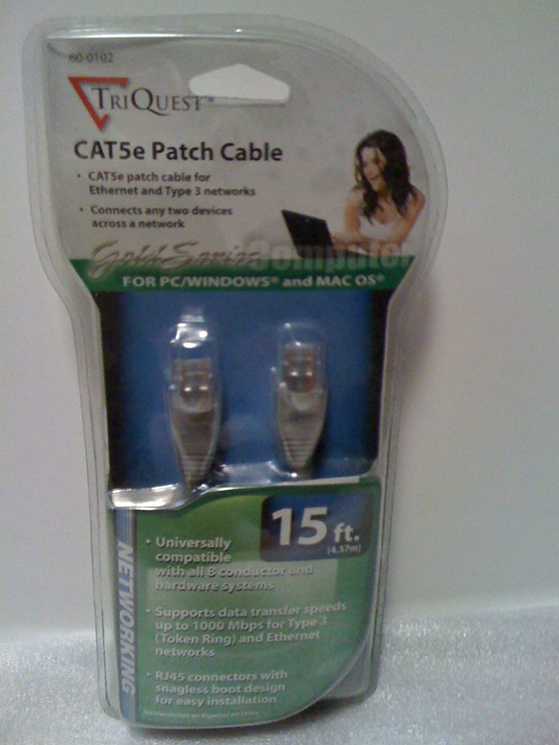 Ethernet and Type 3 Networks TriQuest CAT5e Patch Cable 15 ft.