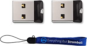 SanDisk Cruzer Fit 32 GB x2 = 64GB USB Flash Drive SDCZ33-032G-B35-2PK w/ Everything But Stromboli (TM) Lanyard