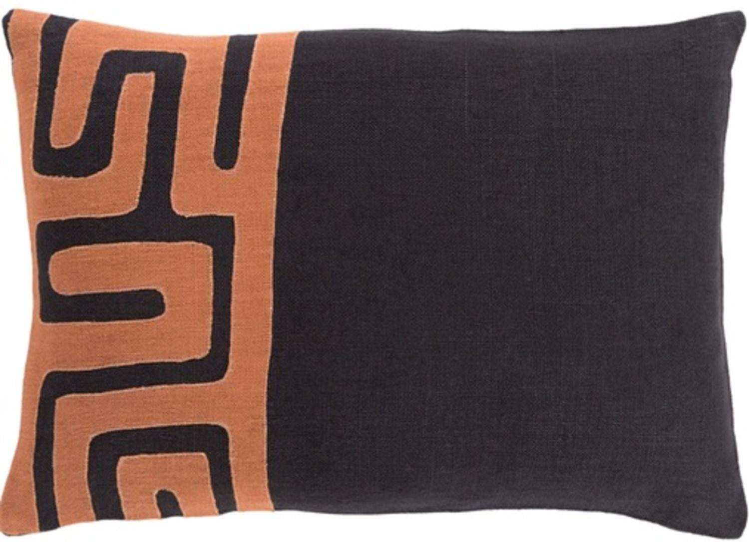 13'' x 19'' Tribal Rhythm Ink Black and Sienna Brown Decorative Throw Pillow-Down Filler