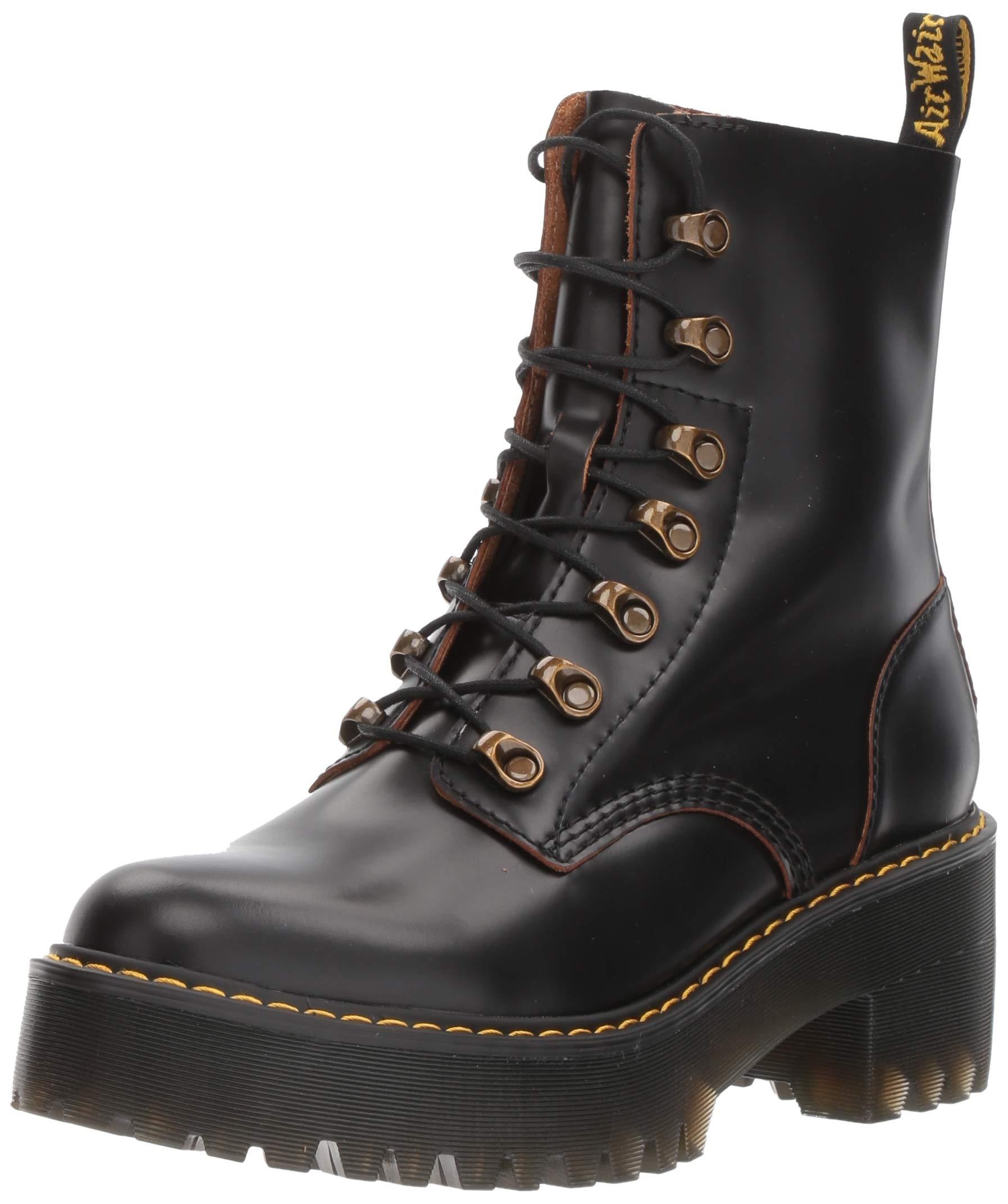 Dr. Martens Shoes Leona Boot, Black Vintage Smooth, 3 UK, Women's 5 US by Dr. Martens