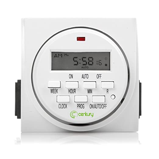 Century 7 Day Heavy Duty Digital Programmable Timer - Dual Outlet (Both Control)