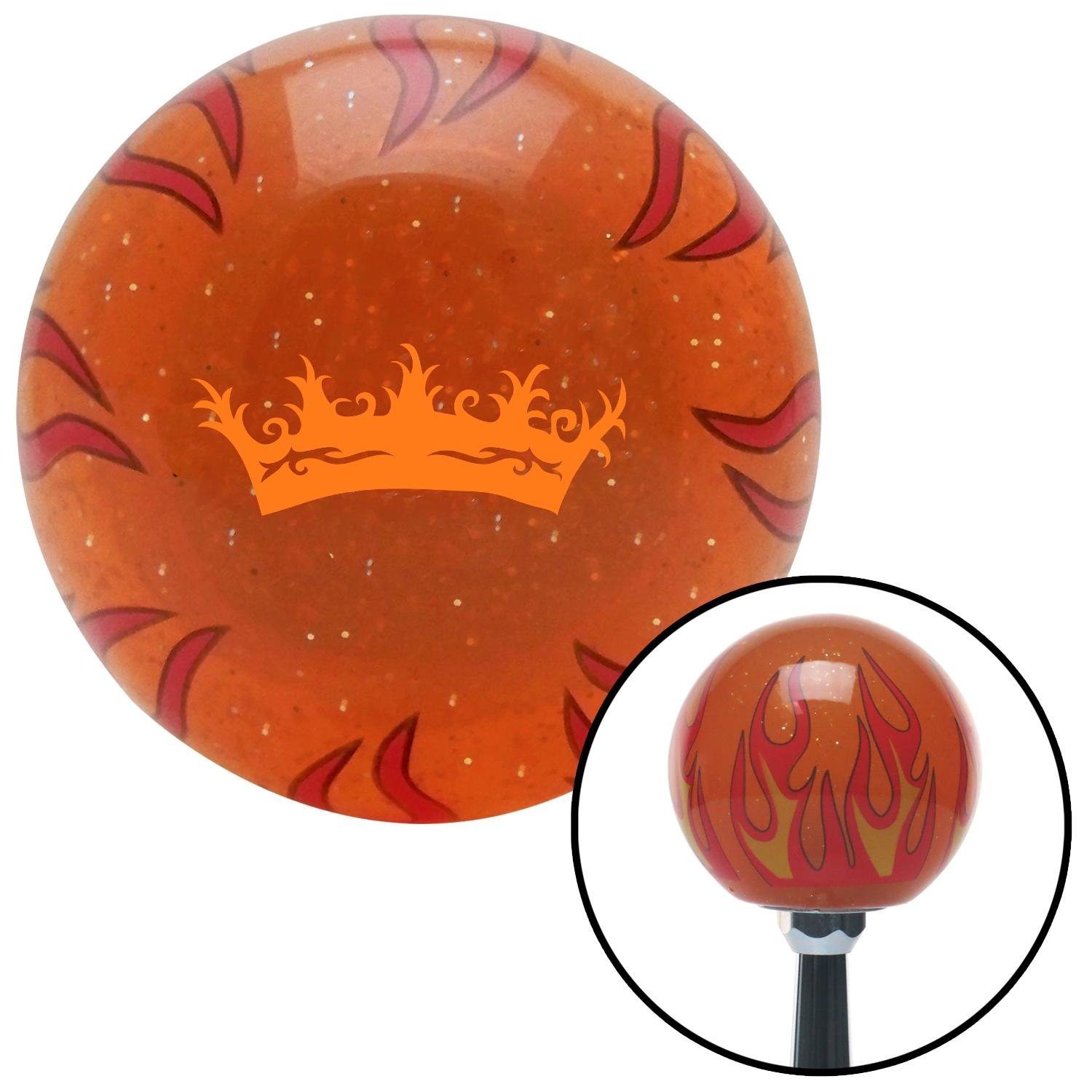 American Shifter 43735 Orange Metal Flake Shift Knob with 16mm x 1.5 Insert Black Abstract Gecko