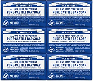 product image for Dr. Bronner's - Pure-Castile Bar Soap (Peppermint, 5 ounce) - Made with Organic Oils, For Face, Body and Hair, Gentle and Moisturizing, Biodegradable, Vegan, Cruelty-free, Non-GMO (5 Ounce, 6-Pack)