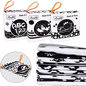 First Soft Book for Babies Early Development and Activity Toys for Toddler Infants Black and White Cloth Books with Six Themes:Letter,Number,Animals,Fruit,Shape, Traffic Vehicle Learning Toy(3packs)
