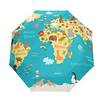 Amazon u life cute cartoon kids animal world map auto open u life cute cartoon kids animal world map auto open close sun rain umbrella gumiabroncs Gallery
