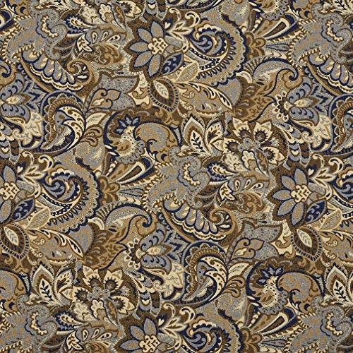 Beige and Dark Blue Tan Abstract Paisley Upholstery Fabric by the yard (Dark Blue Cotton Upholstery)
