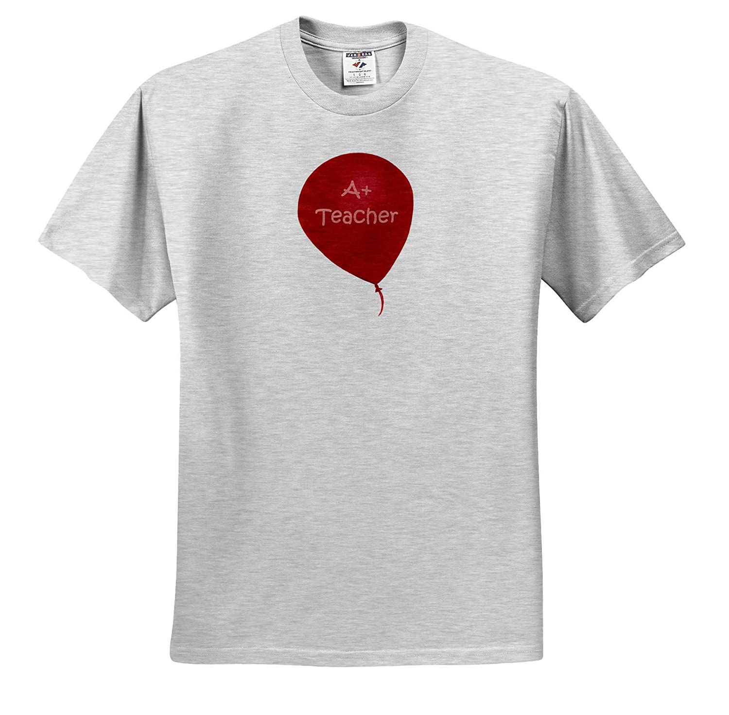 Adult T-Shirt XL 3dRose CherylsArt Teacher Painting of a Red Balloon with A Plus Teacher in Pink Letters ts/_315616