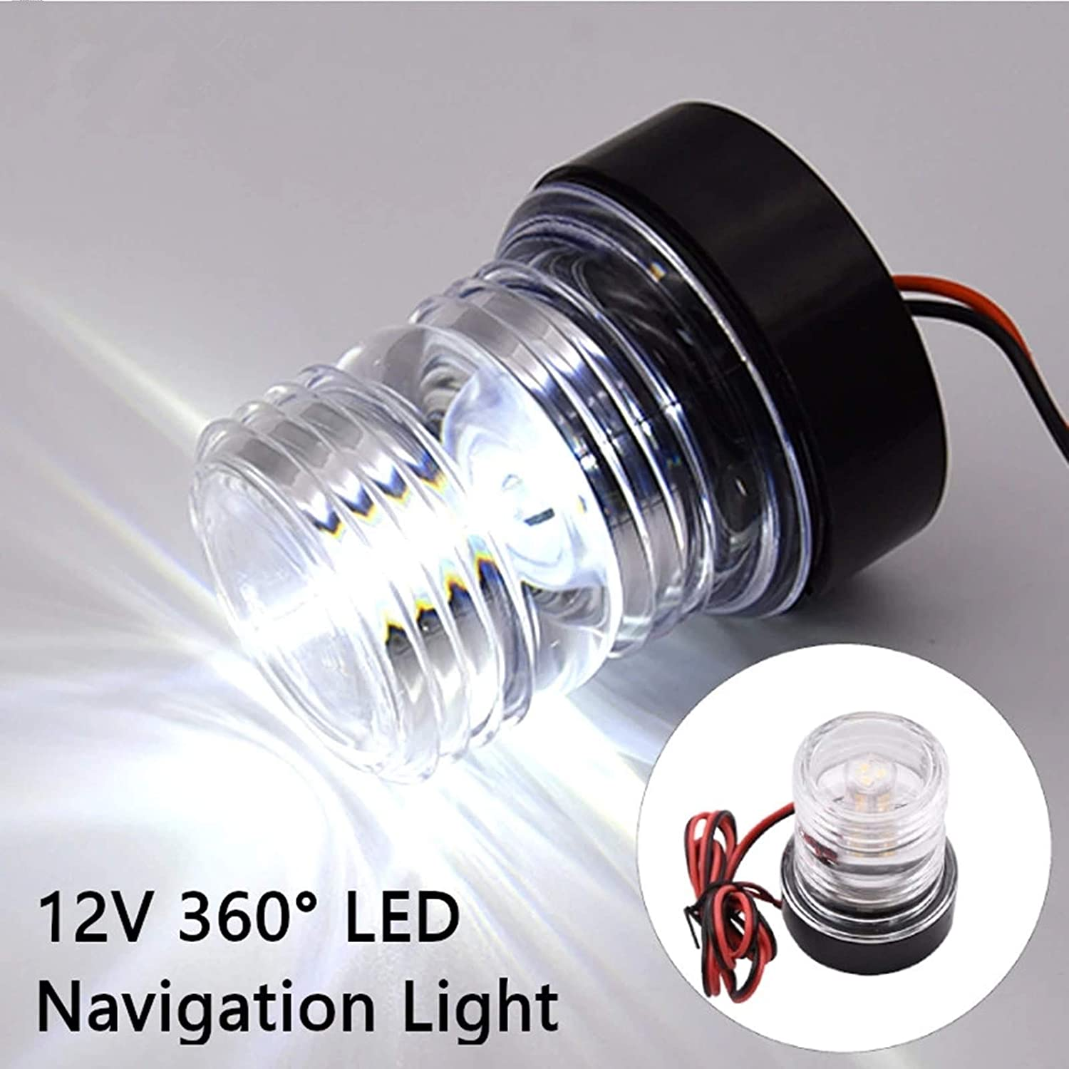 All Round 36012V White Waterproof Round LED Anchor Light Signal ...