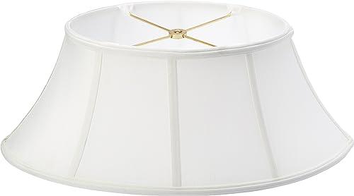 Royal Designs Shallow Oval Designer Lamp Shade, White, 7.5×12 x 10 x 20 x 8