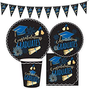 Amosfun 41pcs Graduation Party Supplies Set - Graduation Banner,Graduation Paper Plates,Graduation Cups,Graduation Napkins for Graduation Party Decorations