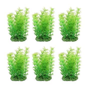 sourcing map Peces de Acuario Recipiente de plástico Verde decoración Césped Artificial 14cm Altura 6pcs: Amazon.es: Productos para mascotas