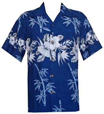 a8b56d69 Alvish Hawaiian Shirt 35 Mens Bamboo Tree Print Beach Aloha Party Holiday  Blue 3XL