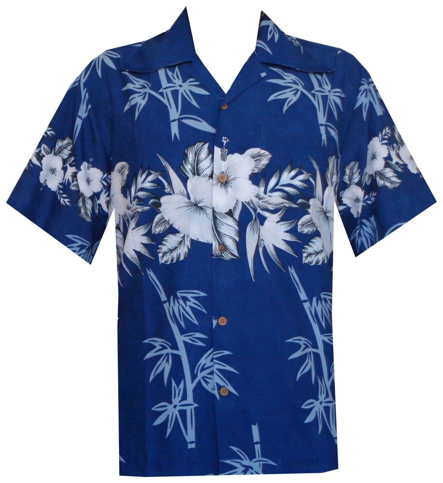 Alvish Hawaiian Shirt 35 Mens Bamboo Tree Print Beach Aloha Party Holiday Blue XL