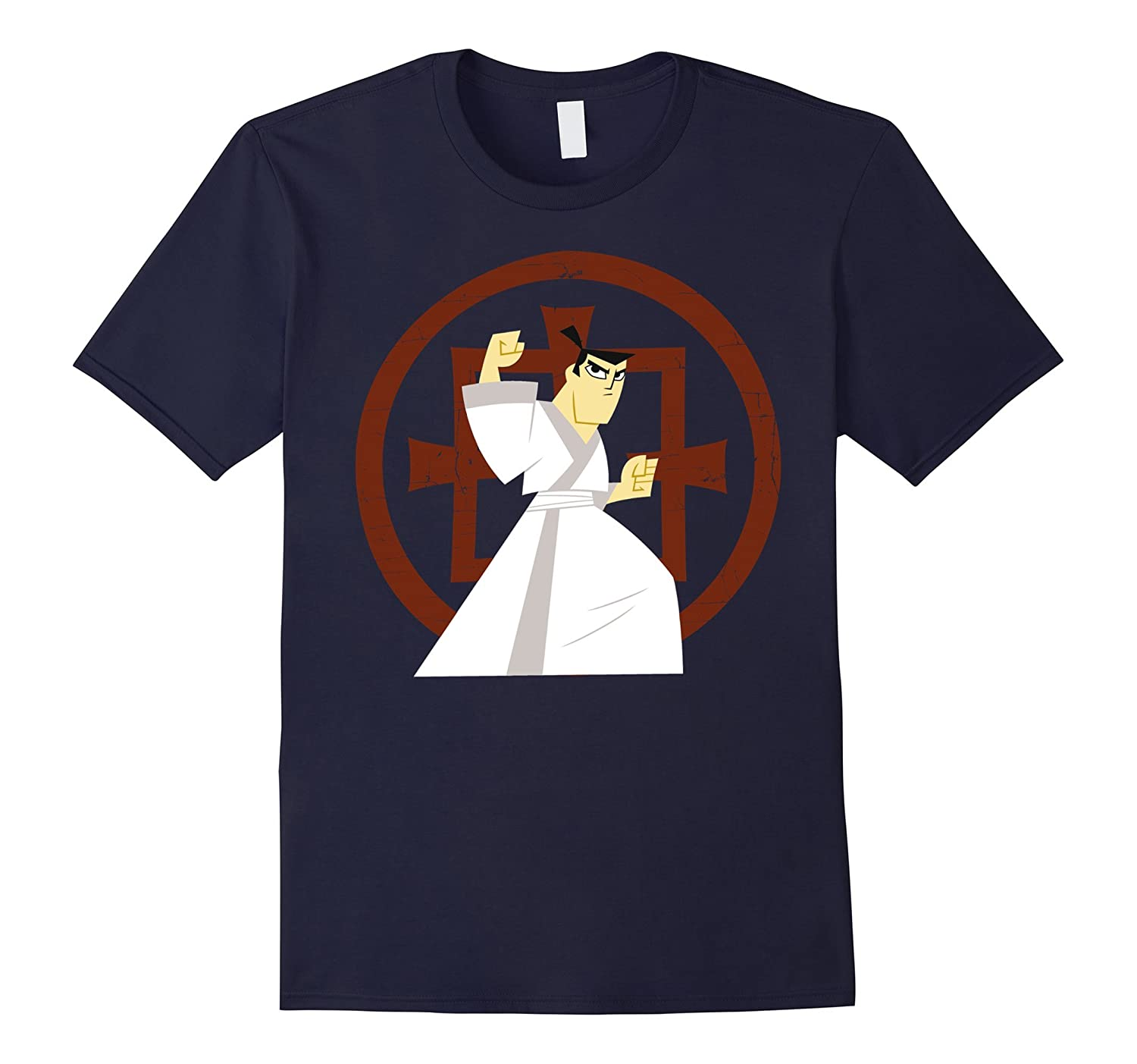 CN Samurai Jack Fight Pose Ancient Symbol Graphic T-Shirt-CL