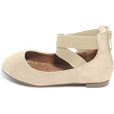 ANNA Girl Kids Dress Ballet Flat Elastic Ankle Strap Faux Suede Shoes | Sandals
