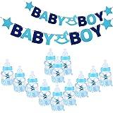NUOLUX Bébé Feeder Style Bonbon Boîte Bonbons Bouteilles Cadeau avec Lettres Garland Banner pour Partie Décorations (Bleu)