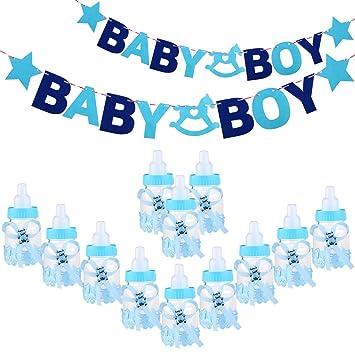 Toyvina Baby Feeder Style Candy Box Bottle Baby Shower Caja de regalo con letras BABY GIRL Garland Banner for Party Favors Decorations (Azul): Amazon.es: ...