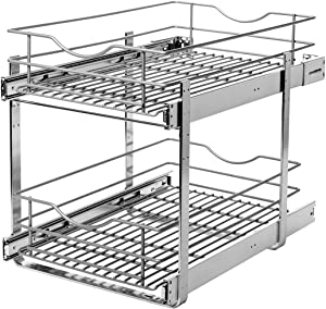 Knape & Vogt RS-DBLMUB-14-FN 14.625 in. W x 21.75 in. D x 16.25in. H Double Tier Pull Out Cabinet Organizer, Frosted Nickel