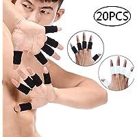 Junucubo 20Pcs Protectores de dedos Mangas de dedos Set Soporte Férula para dedo protector Mangas Brace Basketball Sport Finger Sleeve Protector dedo Férula para dedo Finger Protector (10Pcs Negro+10Pcs Blanco)