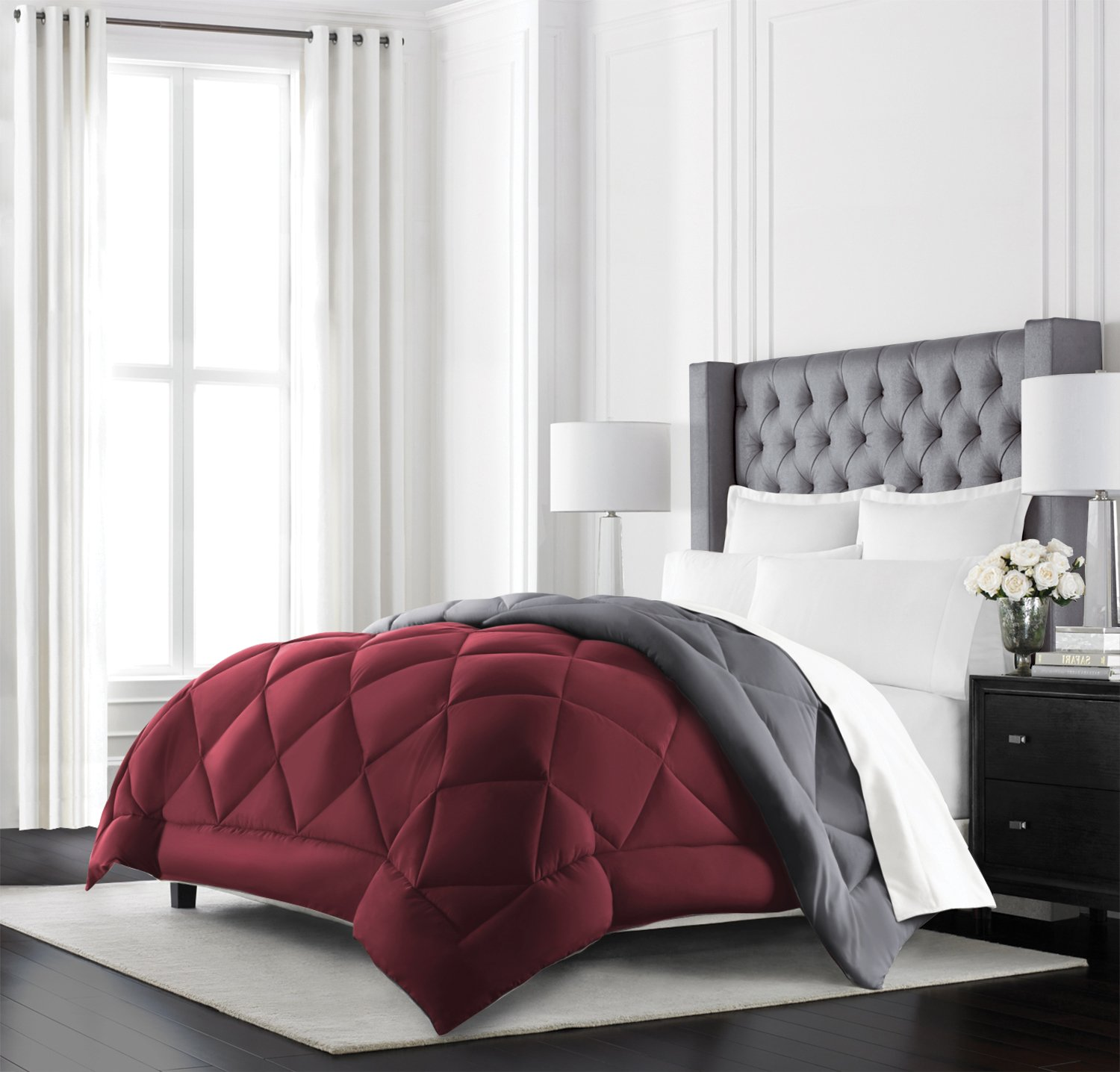 All Season - Premium Quality Luxury Hypoallergenic Comforter - Full/Queen - Burgundy/Grey
