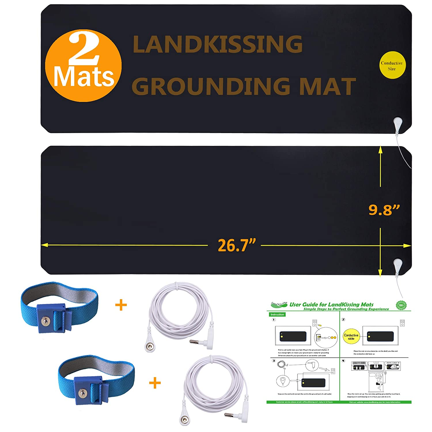 LandKissing® Grounding Mats Kit (2sets) for Healthy Earth Energy with 2 Grounding Wrist Band and 2 Straight Cords