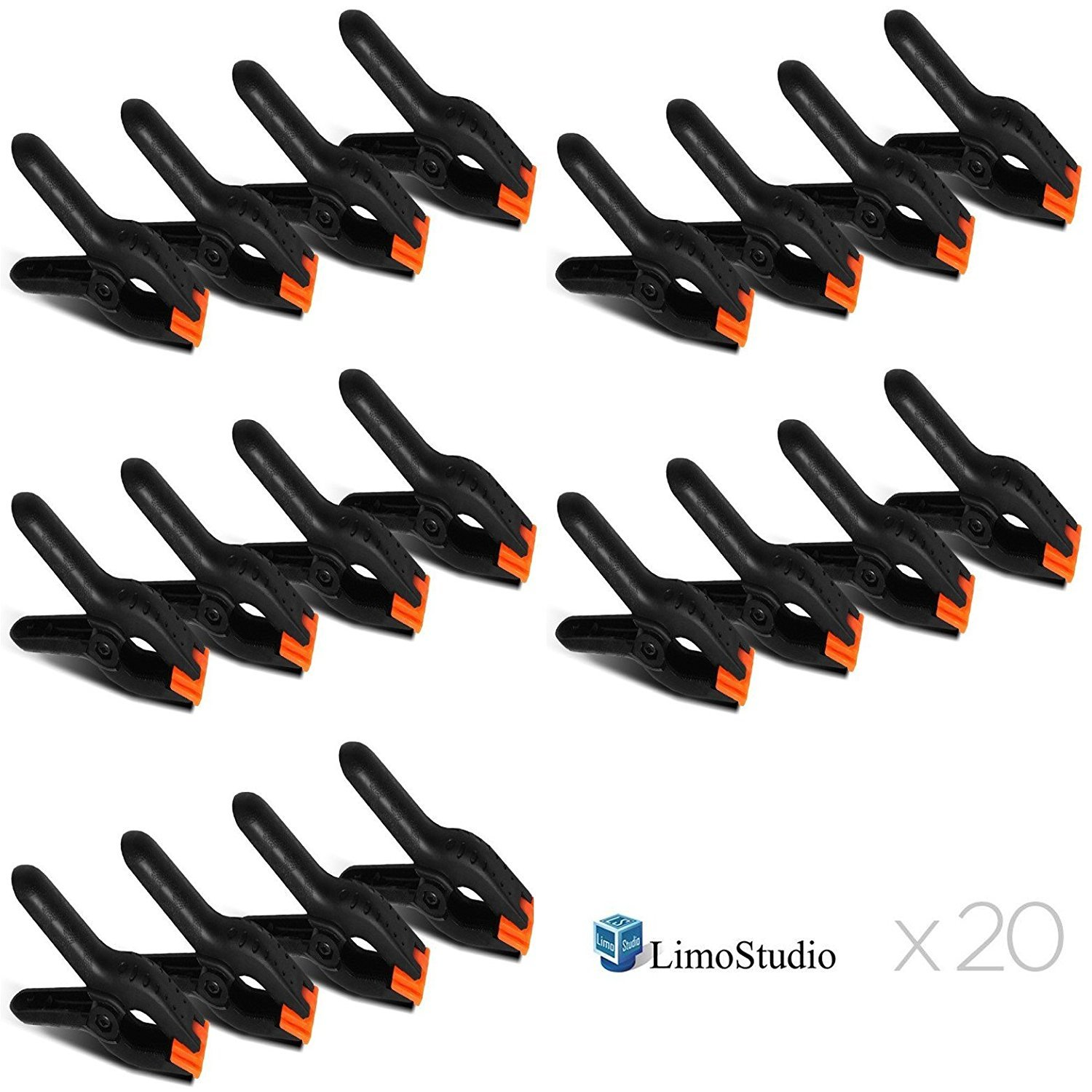 LimoStudio 20 PCS Photography Backdrop Support Spring Clamp for Background Muslin, Canvas, Paper, Chromakey Screen, Heavy Duty Clip, Photo Studio, AGG1424V2 by LimoStudio