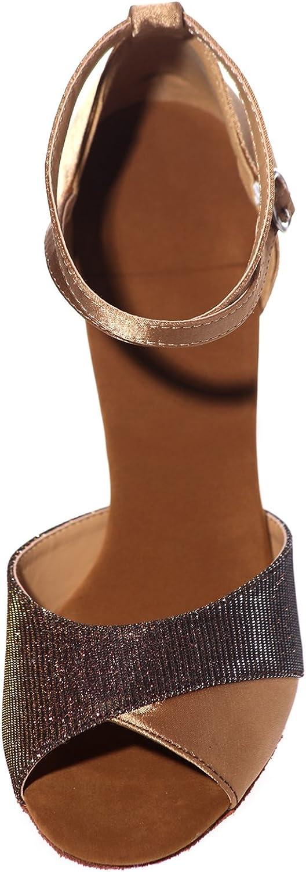 Zapatos De Baile De Ballet para Mujer Baile Azul Zapatos Latinos Negros Satin Glitter Peep Toes Plataforma De Jazz/TacóN De 7,5 Cm Marrón