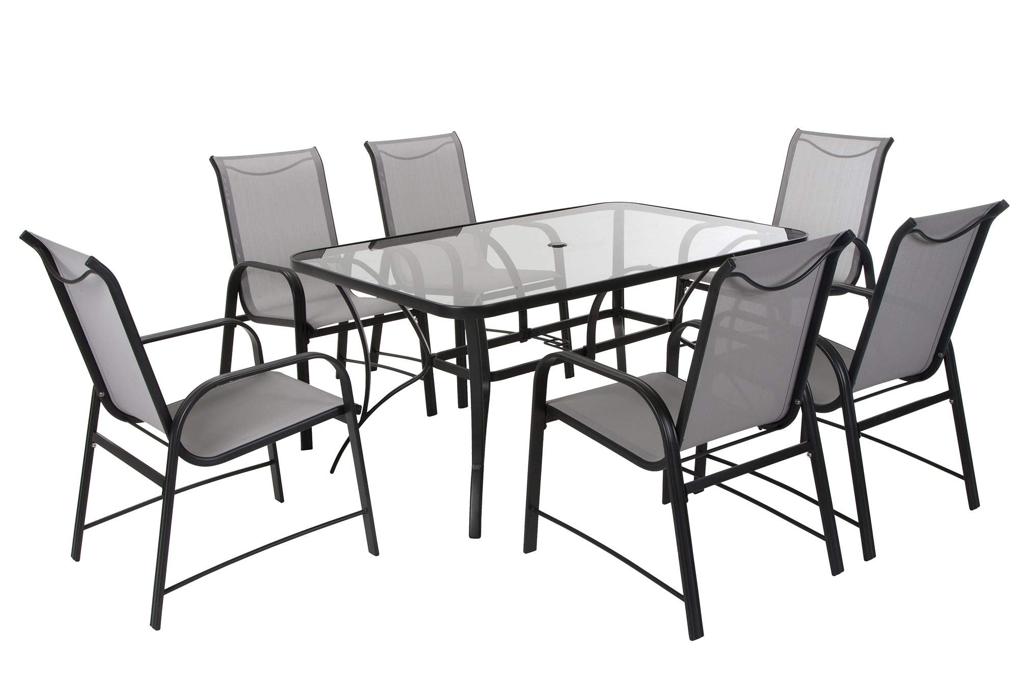 COSCO 88647GLGE Outdoor Living 7 Piece Paloma Steel Patio Dining Set, Light/Dark Gray by Cosco Outdoor Living (Image #5)