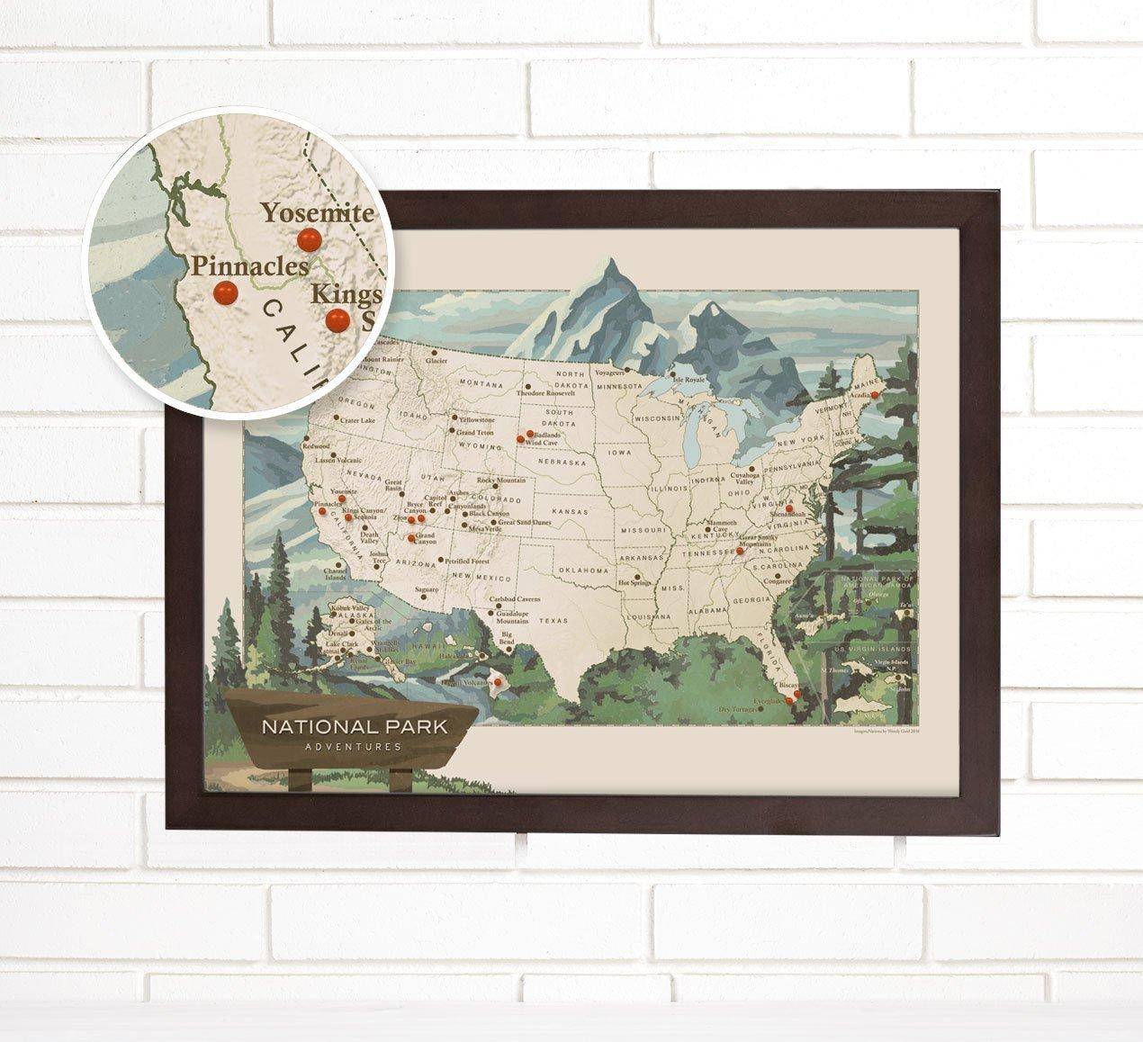 National Park Push Pin USA Travel Map Art