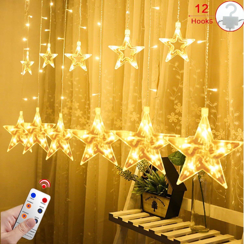 12 Sterne LED Lichtervorhang Lichterkette für den Innen- und Außenbereich, Afufu 2Meter 108 LED-Birnen Sternenvorhang, wasserdicht nach IP65, Fernbedienung mit 8 Leuchtmodi, Weihnachtsdeko für Fenster Garten und Haus (Warmweiß) [Energieklasse A+++] LEDT108