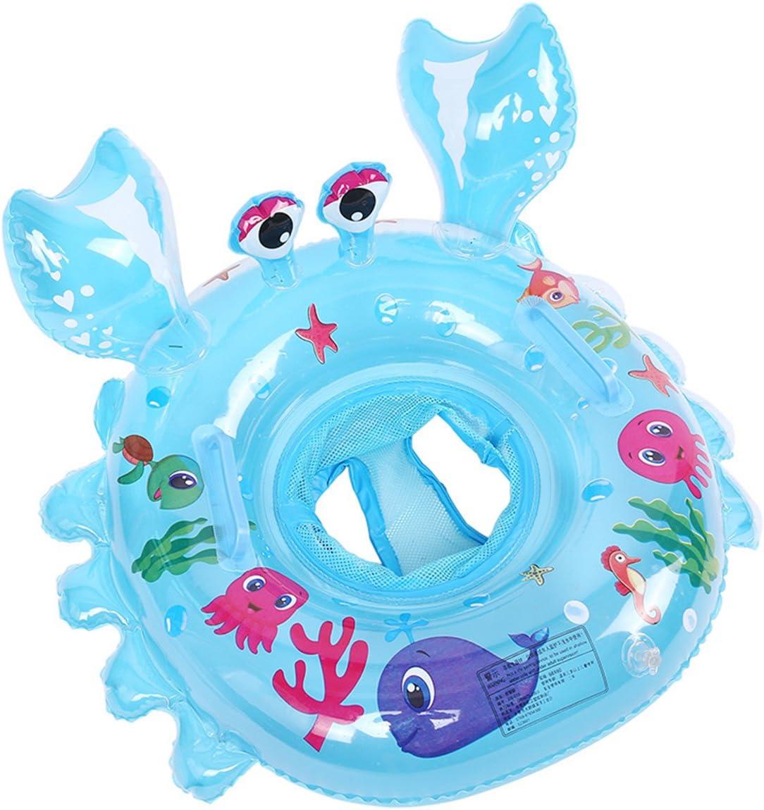 LianShi Anillo de natación Inflable para Cangrejo Flotante para Piscina con Asas (Blue)