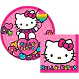 Hello Kitty Party Supplies Pack for 16 Guests: 16 Dessert Plates and 16 Beverage Napkins
