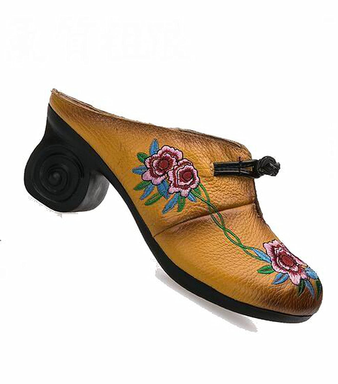 Special-Shop Women Shoes Thick with Slides Leather Handmade Flower Cover Toes Comfortable Women Slides