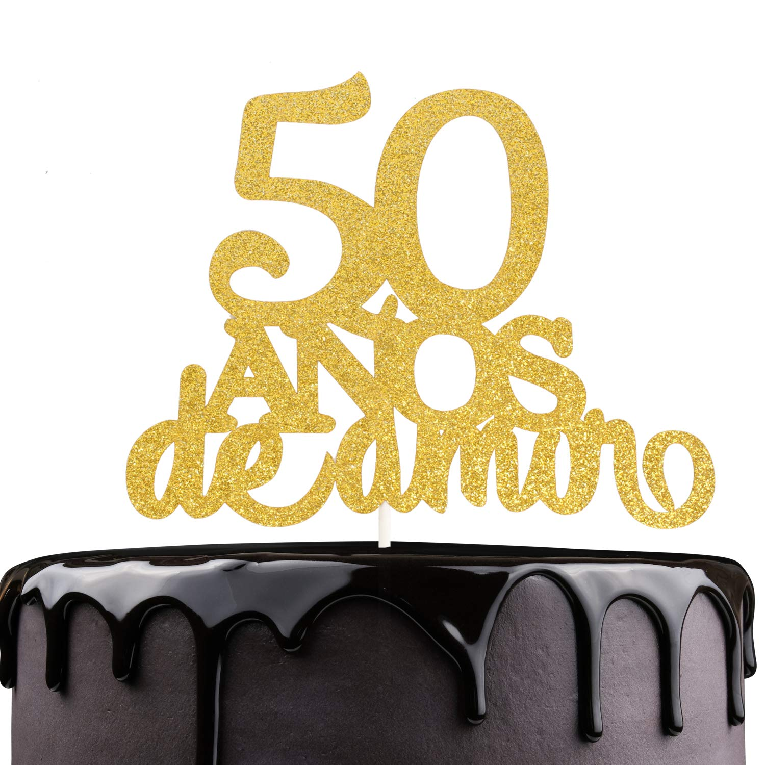 50th Anos De Amor Wedding Cake Topper - Gold Glitter Fifty Years Feliz Cumpleanos - Amada y Bendecida 50 Years Loved Blessed - Spanish Summer Carnival ...