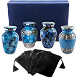 Forever Remembered Classic Blue Small Mini Cremation Keepsake Urns for Human Ashes - Find Peace and Comfort Everytime You Look At These Beautiful Urns - With Velvet Case and 4 Individual Velvet Bags