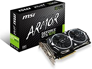 MSI Gaming GeForce GTX 1070 8GB GDDR5 SLI DirectX 12 VR Ready Graphics Card (GTX 1070 ARMOR 8G OC) (Renewed)
